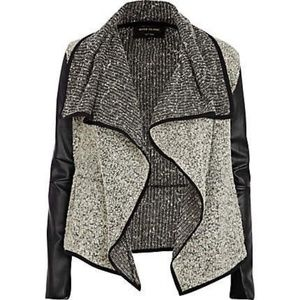 River Island Draped Faux Leather Cardigan Size 8